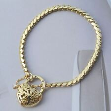 * BRAND NEW - 9K Yellow Gold Filled Heart Locket Bracelet. 20cm in length.