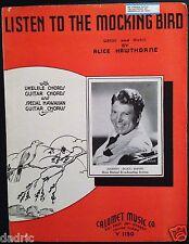 "1936 JOHNNY SCAT DAVIS ""LISTEN TO THE MOCKING BIRD"" SHEET MUSIC -3 STOOGES THEME"