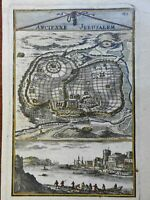 Ancient Jerusalem Mount Zion Temple of Solomon The Acra 1683 Mallet city plan