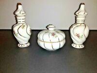 Vintage IRICE porcelain Perfume Bottles and powder jar vanity dresser set