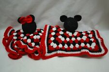 Vintage Mickey & Minnie Mouse Hand Crocheted Dolls Doilies Handmade