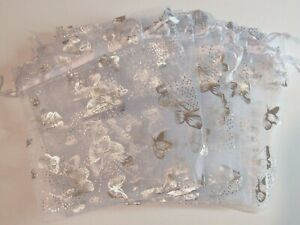 "USA Seller 50 Pcs Butterfly Organza Pouch Wedding Favor Gift Bag 5""x6.5"" 13x16cm"