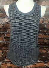 Imaginary Voyage Knit Tank Top Size Large Black Gray Striped Sequins
