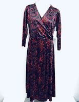 CHAUS New York Velvet Women Dress. Size Large. New With Tags