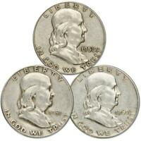 1948-1963 Franklin Half Dollar 3 Coin All-Mint Gift Set AG About Good 90% Silver