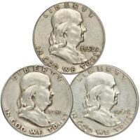 1948-1963 50c Franklin Silver Half Dollar 3 Coin All Mint Set Circulated