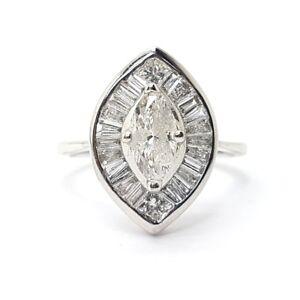 Marquise Diamond Halo Engagement Ring, 18k White Gold