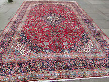 Large Old Hand Made Traditional Persian Oriental Wool Red Carpet 425x290cm