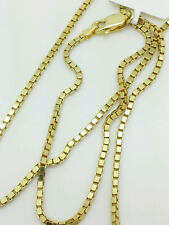 "14K Solid Yellow Gold Box Necklace Gold Chain  16"" 18"" 20"" 22"" 24"" 26"" 30"""