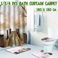 Wooden Bridge Bathroom Shower Curtain Toilet  Rug Cover Non-Slip Bath Mat Set