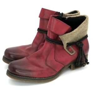 Rieker Antistress Fee 93 Ankle Boots Red Leather Rope Tassel - Women's 40   9M