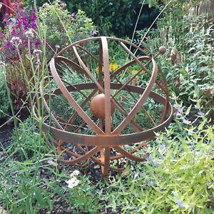 Garden Armillary steel Sphere Ornament. Hand Made.