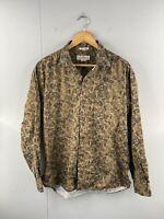 Natural Issue Men's Vintage Long Sleeve Hawaiian Shirt Size XL Green