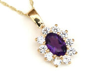 9ct Gold Amethyst cluster Pendant necklace and Chain Gift Boxed Made in UK