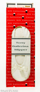 Slippers Ladies White Terry Cloth Ballerina Style Slippers W/ Suede Bottom XL