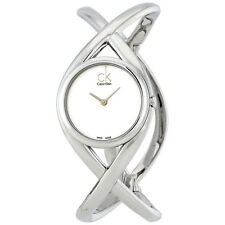Calvin Klein Enlace Silver Dial Bangle Ladies Watch K2L23120