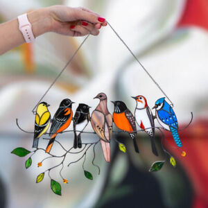 Stained Glass Window Panel Suncatcher High  4/7 Birds On A Wire