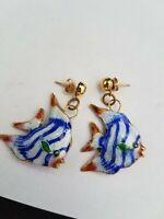 Vintage Gold Toned Enamel Fish Pierced Earrings