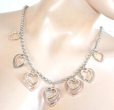 COLLIER  mi-long pendentifs coeurs strass argent or rose femme chaîne anneaux 91