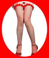 SEXY lingerie Bas résille ROUGE avec FROUFROUS affriolants autofixant guepiere