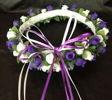 Purple and White Silk Poly Rose Halo Flower Girl Head Piece Band Green Leaves