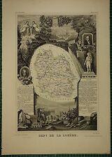 1856 MAP FRANCE DEPARTMENT ~ DE LA LOZERE MENDE FLORAC MARVEJOLS MALZIEU