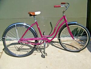 1968 SCHWINN HOLLYWOOD  BEACH CRUISER, REAL CHROME, MAGENTA PURPLE BICYCLE!