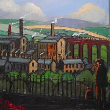 Original BEST Oil Painting  Famous Artist James Downie : Surveying the Viaduct