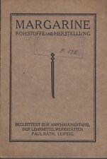 Margarina-materie prime e produzione del 1930