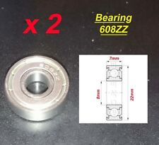 2 x Deep Groove Ball Bearing 608ZZ Roulement à Billes 8 x 22 x 7mm 608ZZ