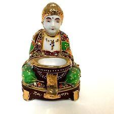 Vintage Porcelain Satsuma Moriage Kutani Style Buddha Incense Burner Figurine