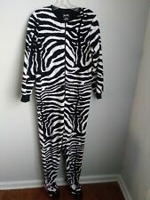 Nick & Nora One Piece Flanel Zebra Print Pajams With Feet Size Small