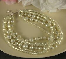 SHORT LENGTH MULTI-STRAND CREAM VARIOUS SIZED GLASS PEARL NECKLACE