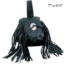 Genuine Leather Belt Bag - Hip Purse - - Black Fringe & Bikers
