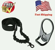 AR 15 Single Point Sling WITH Adapter Plate Mount COMBO Rifle Tactical Bungee