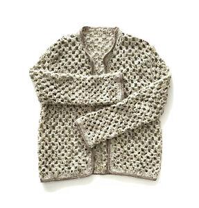 Hand crocheted Knitted tan Beige cardigan Medium To Large Wool Feel