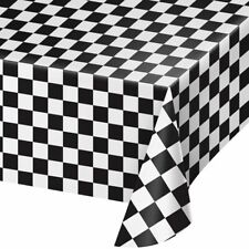 "Black & White Check Table Cover 54"" x108"" Adults Party Tableware Supplies Racing"