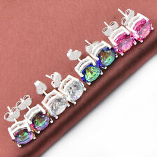 Engagement Jewelry Set 4 Pcs Mystic Topaz Pink Topaz White Zircon Stud Earrings