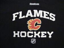 NHL Calgary Flames National Hockey League Fan Reebok Apparel Black T Shirt XL