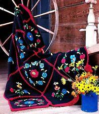 Vibrant Folk Art Florals Afghan/Crochet Pattern Instructions Only