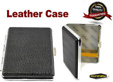 Faux Leather Black Cigarette Case Metal Tobacco Holder Storage Roll Up Tin Gift