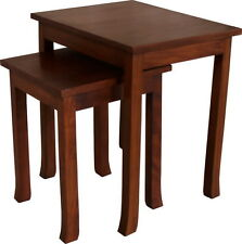 Solid Mahogany Orchard Nest of 2 Side Tables Contemporary Style NEW T055