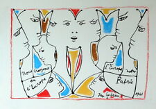 JEAN COCTEAU / Lovely Authentic Colored Pencil on Paper, Signed and Dated. 1961