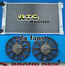 2 Core Aluminum Radiator & 2x fans for VW GOLF MK1 MK2 GTI/SCIROCCO 1.6 1.8 8V