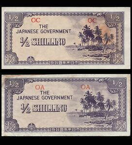 LOT OCEANIA JAPANESE GOVERNMENT JIM P-1b & P-1c 1/2 SHILLING 1942 WWII BANKNOTES