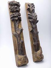 Paire d'éléments de Boiserie bois doré sculpté d'Arbres en applique ep XVIIIe