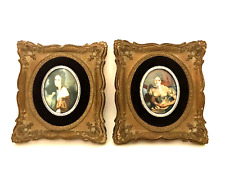Cameo Creations Victorian Ladies Framed Wall Art Vintage Pair Pictures 7 x 6.5