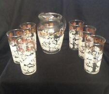 Vintage Floral Glass Juice Pitcher w/ 6 Pastel and gold Juice Glasses  (L24XB5)