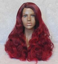 Long Wavy Black/Red Highlighted Low Heat Ok Full Synthetic Wig - 102