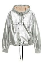 H&M Coachella Metallic Silver Shiny Jacket Size 2 XS Hipster Astronaut